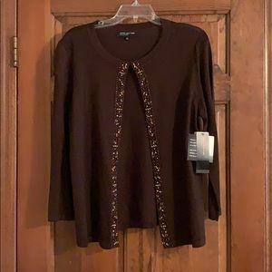 Jones NY Collection brown embellished cardigan